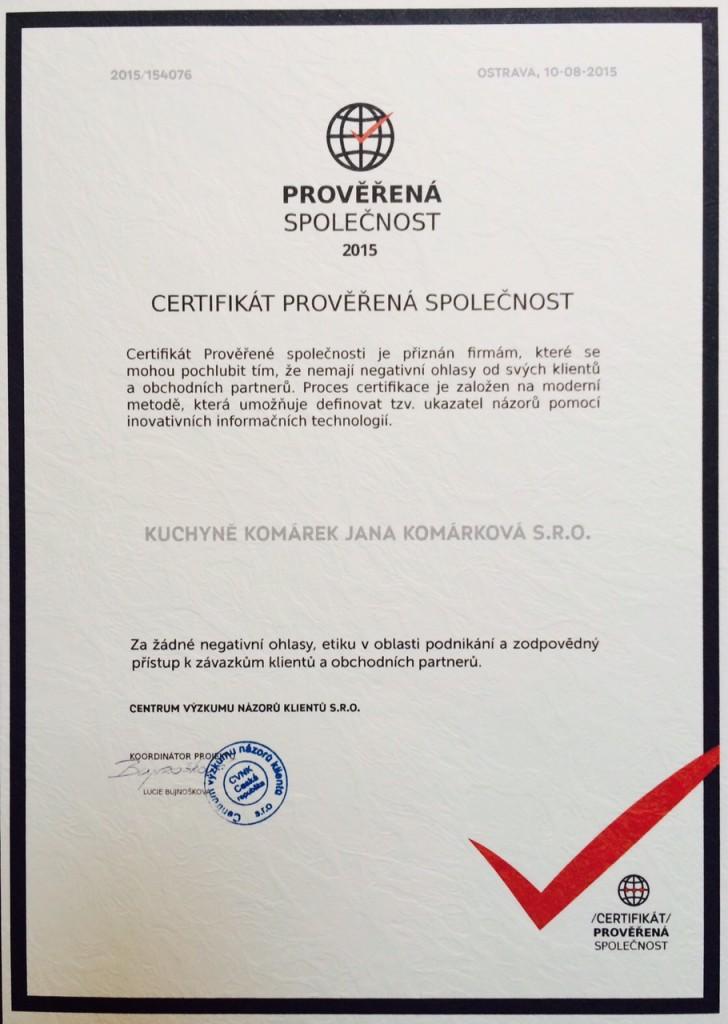 Kuchyně a interiéry Komárek Zábřeh certifikát prověřená firma